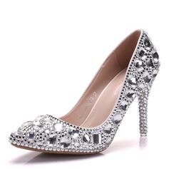 Женщины кожа Высокий тонкий каблук Закрытый мыс На каблуках с Каблуки с кристаллами хрусталь (047151530)