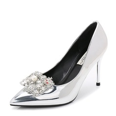 Women's Patent Leather Stiletto Heel Pumps Closed Toe With Rhinestone Imitation Pearl shoes (085155246)