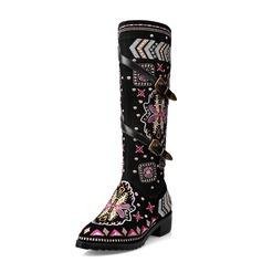 Женщины Натуральня кожа Устойчивый каблук Сапоги до колен обувь (088073588)