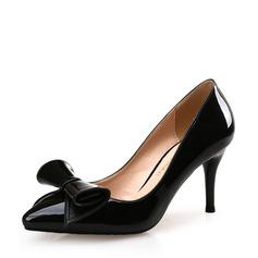 Женщины Лакированная кожа Высокий тонкий каблук На каблуках Закрытый мыс с бантом обувь (085113643)