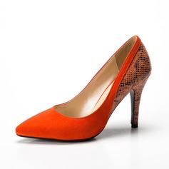 Femmes Suède Similicuir Talon stiletto Escarpins Bout fermé chaussures (085085030)