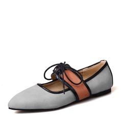 Женщины Замша Плоский каблук На плокой подошве Закрытый мыс с Лента обувь (086154568)