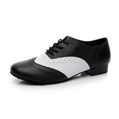 Мужская Натуральня кожа На плокой подошве Латино Бальные танцы качать Практика Обувь для Персонала с Шнуровка Обувь для танцев (053059327)