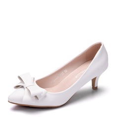 Vrouwen Kunstleer Stiletto Heel Closed Toe Pumps met strik (047151534)