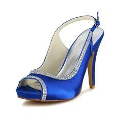 Женщины Атлас Высокий тонкий каблук Открытый мыс На каблуках Сандалии с пряжка горный хрусталь (047048538)