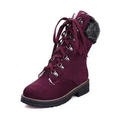 Femmes Suède Talon bas Bout fermé Bottes Bottes mi-mollets Bottes neige avec Dentelle chaussures (088185772)