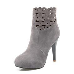 Женщины Замша Высокий тонкий каблук Полусапоги обувь (088091723)