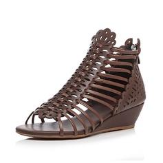 Женщины Натуральня кожа Вид каблука Сандалии Открытый мыс обувь (087087389)