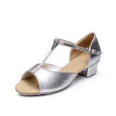 Детская обувь кожа На каблуках Сандалии Латино с Т-ремешок Обувь для танцев (053048837)