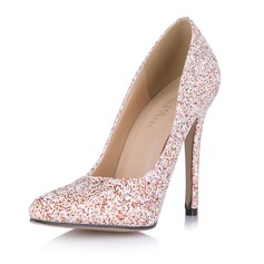 Kvinnor Glittrande Glitter Stilettklack Pumps Stängt Toe skor (085053021)