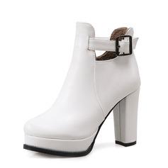 Женщины кожа Устойчивый каблук Полусапоги обувь (088092754)