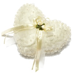 Heart Shaped Ring Pillow in Satin With Pearl/Flowers (103018228)