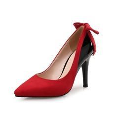 Женщины Замша Лакированная кожа Высокий тонкий каблук На каблуках с бантом Соединение врасщеп обувь (085097931)