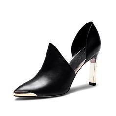 Натуральня кожа Устойчивый каблук На каблуках Закрытый мыс обувь (085062178)