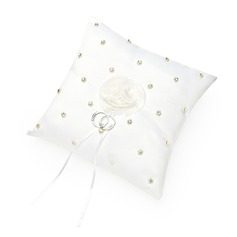 Elegant Ring Pillow in Satin With Faux Pearl (103047562)