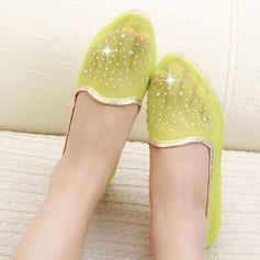 Женщины сетка Плоский каблук На плокой подошве с горный хрусталь обувь (087131900)