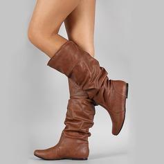 Женщины кожа Плоский каблук Закрытый мыс Ботинки Сапоги до колен с Другие обувь (088187306)