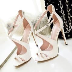 Женщины Лакированная кожа Высокий тонкий каблук Сандалии На каблуках Открытый мыс с пряжка Застежка-молния обувь (087124920)