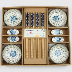 Pretty Sakura Design Ceramic/Bamboo Cutlery set (051026873)
