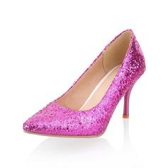 Femmes Pailletes scintillantes Talon cône Escarpins Bout fermé chaussures (085042609)