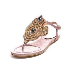 Äkta läder Flat Heel Sandaler Slingbacks med Strass skor (087049317)