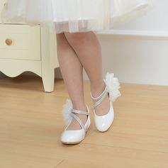 A menina de Toe rodada Fechados imitação de couro low Heel Sapatas do florista com Pérola Imitação Laço de cetim Velcro Aplicação de renda (207113588)