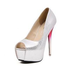 Konstläder Stilettklack Sandaler Pumps Plattform Peep Toe skor (087050169)