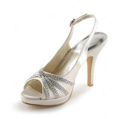 Kvinnor Satäng Cone Heel Peep Toe Plattformen Sandaler Slingbacks med Buckle Strass (047005496)