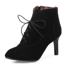 Mulheres Camurça Salto agulha Bombas Botas Bota no tornozelo com Zíper Aplicação de renda sapatos (088143730)