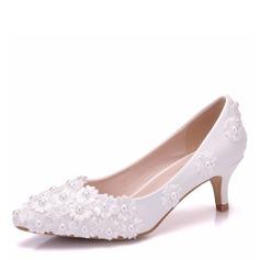 Frauen Kunstleder Niederiger Absatz Geschlossene Zehe Flache Schuhe mit Applikationen (047166115)