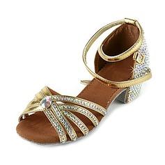 Mulheres Couro Brilhante Saltos Sandálias Latino com Strass Correia de Calcanhar Sapatos de dança (053018640)