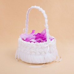 Pretty Flower Basket in Satin With White Organza Rose (102025558)