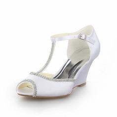 Vrouwen Satijn Wedge Heel Peep Toe Sandalen Wedges met Strass (047058353)