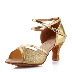 Women's Leatherette Sparkling Glitter Sandals Latin With Ankle Strap Dance Shoes (053146267)