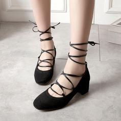 Женщины Замша Устойчивый каблук На каблуках с Шнуровка обувь (085115168)