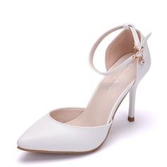Vrouwen Kunstleer Stiletto Heel Closed Toe Pumps Sandalen Mary Jane met Gesp Strass (047144220)