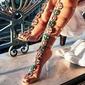 Women's PVC Stiletto Heel Sandals Pumps Peep Toe Slingbacks With Rhinestone shoes (087155351)
