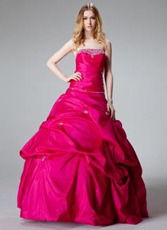 Corte de baile Estrapless Hasta el suelo Tafetán Vestido de quinceañera con Volantes Bordado (021002893)