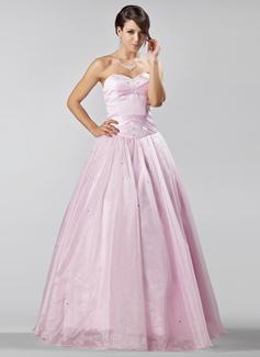 A-linjainen/Prinsessa Kullanmuru Lattiaa hipova pituus Organzanauha Quinceanera mekko jossa Helmikuvoinnit (021020885)