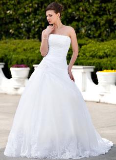 Corte de baile Sin tirantes Cola capilla Satén Organdí Vestido de novia con Encaje Cuentas (002000135)