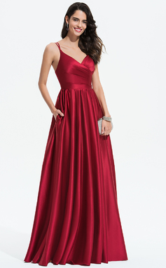 Corte A Escote en V Hasta el suelo Satén Vestido de novia con Volantes Bolsillos (002207423)