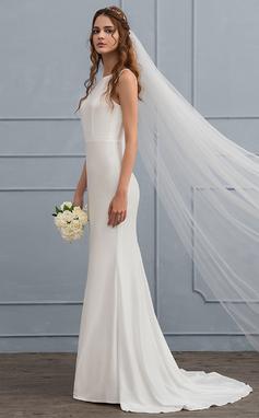 Corte trompeta/sirena Escote redondo Barrer/Cepillo tren Jersey Vestido de novia (002119800)