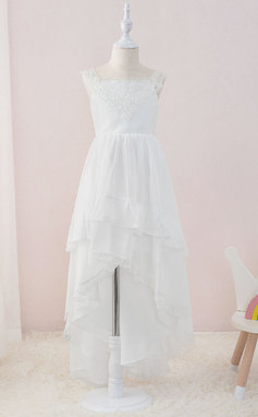 Corte A Asimétrico Vestidos de Niña Florista - Gasa/Encaje Sin mangas Escote Cuadrado con Volantes (010195363)