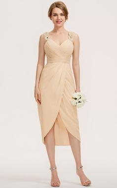 Vestido tubo Novio Asimétrico Gasa Dama de honor (007190681)