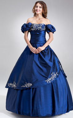 Tanssiaismekot Olkaimeton Lattiaa hipova pituus Tafti Quinceanera mekko jossa Kirjailtu Rypytys Helmikuvoinnit (021002833)