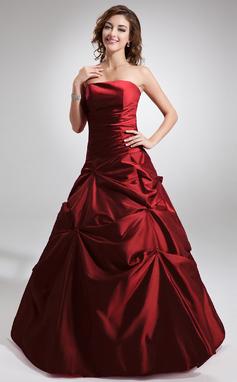 Tanssiaismekot Olkaimeton Lattiaa hipova pituus Tafti Quinceanera mekko jossa Rypytys Helmikuvoinnit (021002289)