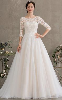 Corte De Baile/Princesa Escote redondo Cola corte Tul Vestido de novia con Lentejuelas (002186395)