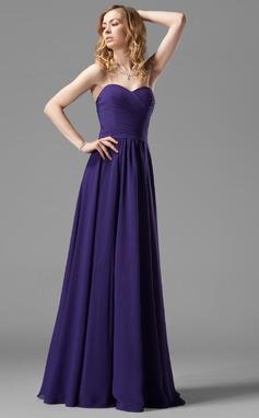A-linjainen/Prinsessa Kullanmuru Lattiaa hipova pituus Sifonki Morsiusneitojen mekko jossa Rypytys (007004143)