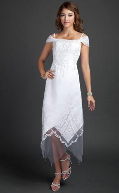 Corte A/Princesa Fuera del hombro Hasta la tibia Satén Vestido de novia con Cuentas (002015354)