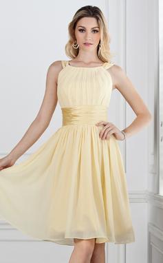 27de3fa98d A-Line/Princess Scoop Neck Knee-Length Chiffon Bridesmaid Dress With Ruffle  (